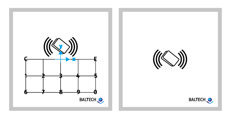 Diagram of BALTECH ACCESS200 front sticker measurements