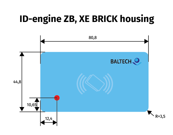 Diagram of BALTECH ID-engine front sticker measurements