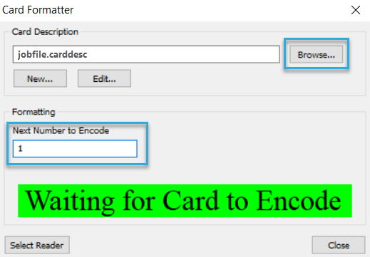 BALTECH Card Formatter Tool dialog filled out