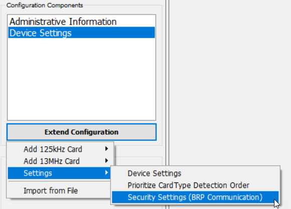 Screenshot: Menu path to add security settings in BALTECH ConfigEditor