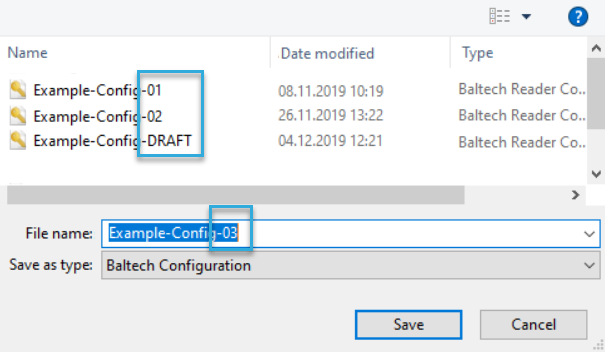 Screenshot: Automated versioning of configurations in BALTECH ConfigEditor