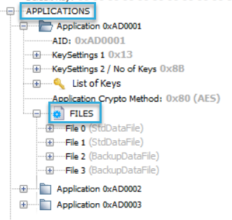Screenshot: Applications and files on a MIFARE DESFire card show in BALTECH ID-engine explorer