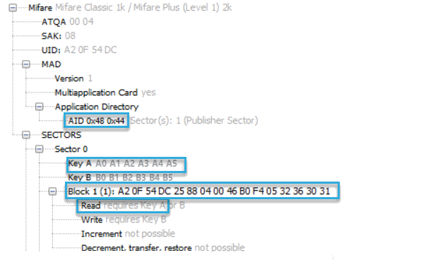 Screenshot: Content of a block on a MIFARE Classic card show in BALTECH ID-engine explorer